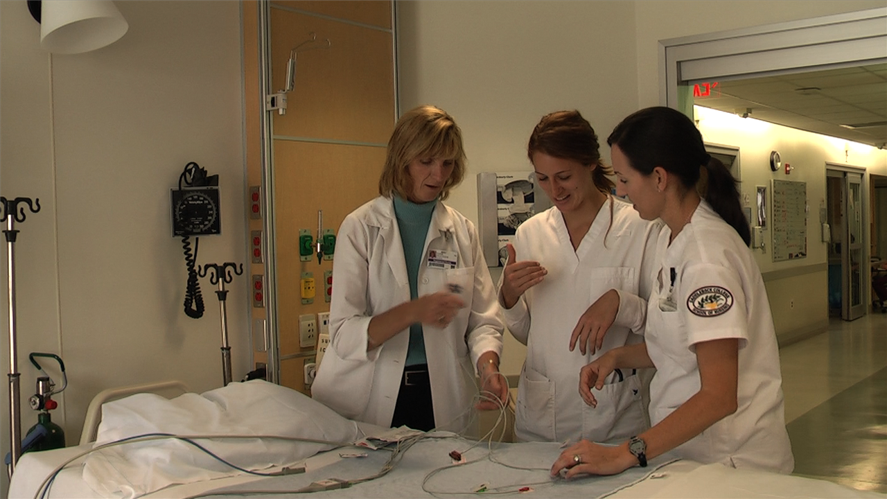 Diane Pestolesi in the hospital with students