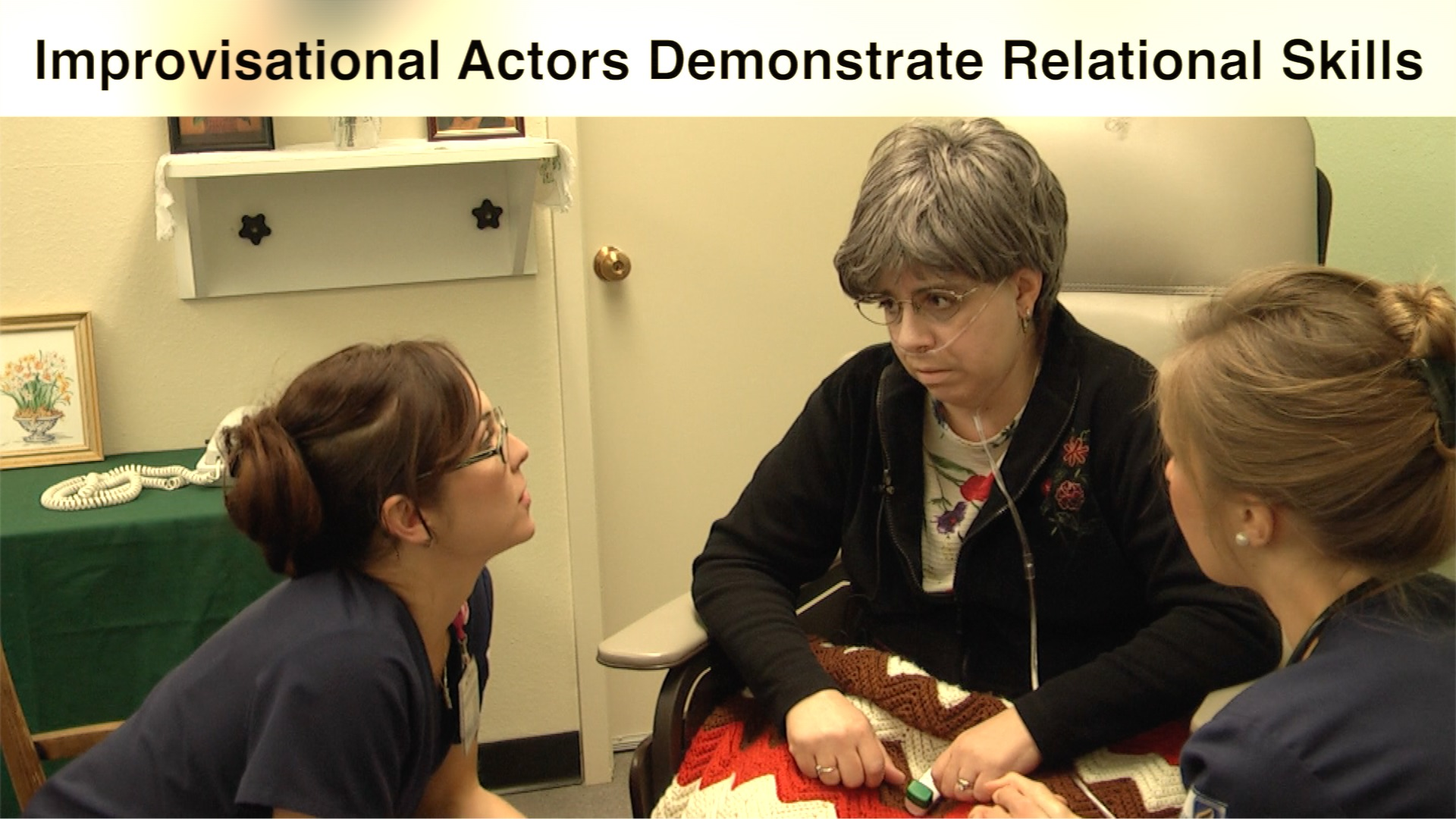 Students interact with actor in a simulation